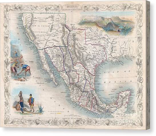 1851 Tallis Map Of Mexico Texas And California  Canvas Print