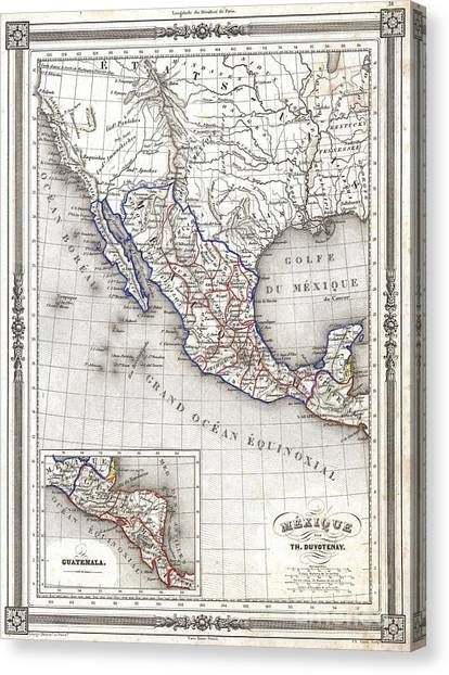 Pre-modern Art Canvas Print - 1852 Duvotenay Map Of Mexico by Paul Fearn