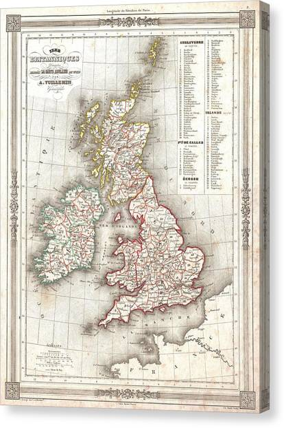 Early world maps canvas prints page 6 of 8 fine art america early world maps canvas print 1852 vuillemin map of the british isles england ireland scotland publicscrutiny Image collections