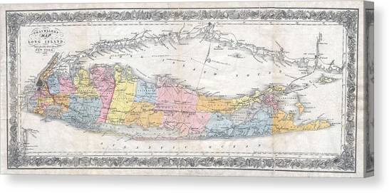1857 Colton Travellers Map Of Long Island New York Canvas Print