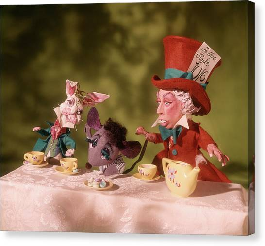 March Hare Canvas Print - 1860s Mad Hatters Tea Party From Alice by Vintage Images