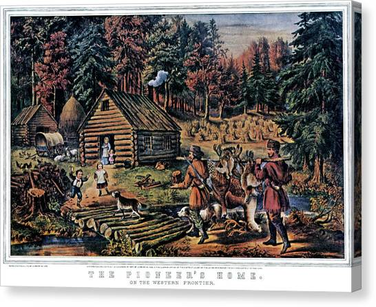 Log Cabin Canvas Print - 1860s The Pioneer Home On Western by Vintage Images