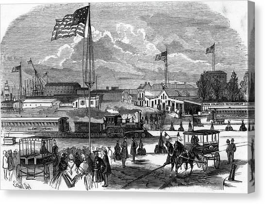 Philadelphia Union Canvas Print - 1860s Union Volunteer Refreshment by Vintage Images