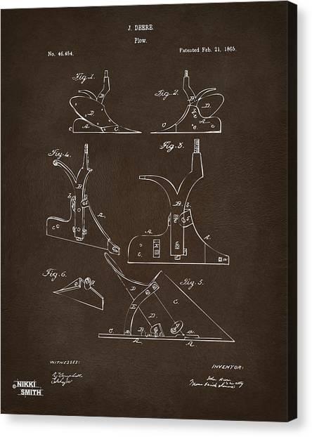 John Deere Canvas Print - 1865 John Deere Plow Patent Espresso by Nikki Marie Smith