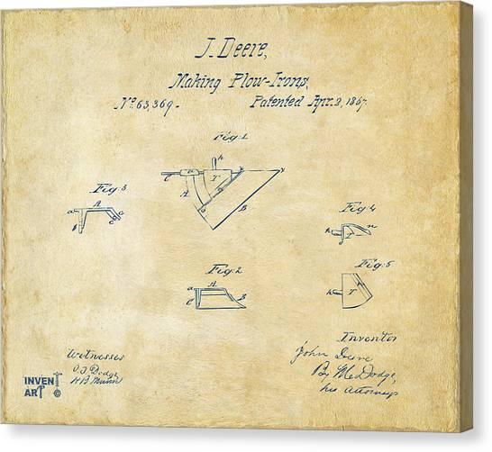 John Deere Canvas Print - 1867 John Deere Plow Irons Patent Vintage H by Nikki Marie Smith
