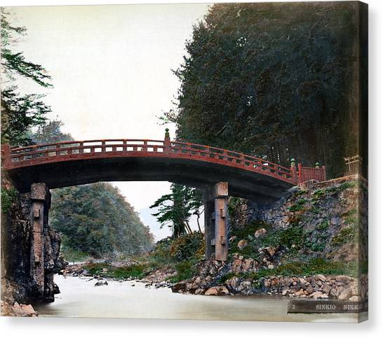 Lacquer Canvas Print - 1870 Sacred Bridge Of Nikko Japan by Historic Image