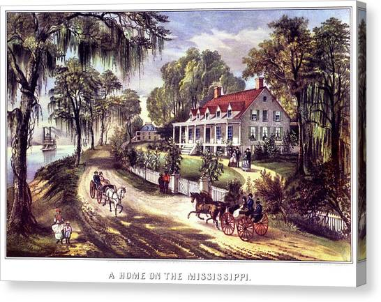 Currier And Ives Canvas Print - 1870s 1800s A Home On The Mississippi - by Vintage Images