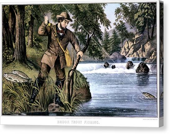 Fishing Poles Canvas Print - 1870s Brook Trout Fishing - Currier & by Vintage Images