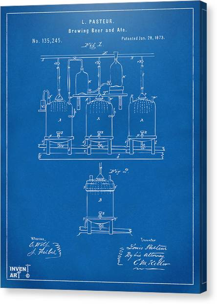 Canvas Print featuring the digital art 1873 Brewing Beer And Ale Patent Artwork - Blueprint by Nikki Marie Smith