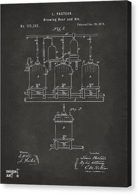 Canvas Print featuring the digital art 1873 Brewing Beer And Ale Patent Artwork - Gray by Nikki Marie Smith