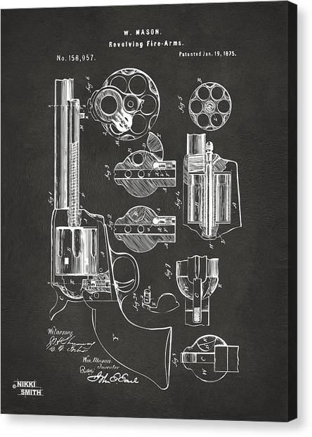 Canvas Print featuring the digital art 1875 Colt Peacemaker Revolver Patent Artwork - Gray by Nikki Marie Smith