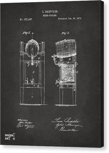 Media Canvas Print - 1876 Beer Keg Cooler Patent Artwork - Gray by Nikki Marie Smith