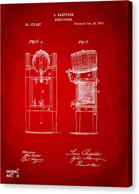 Brewery Canvas Print - 1876 Beer Keg Cooler Patent Artwork Red by Nikki Marie Smith