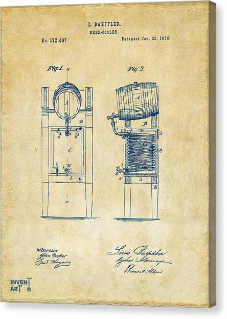 Brewery Canvas Print - 1876 Beer Keg Cooler Patent Artwork - Vintage by Nikki Marie Smith