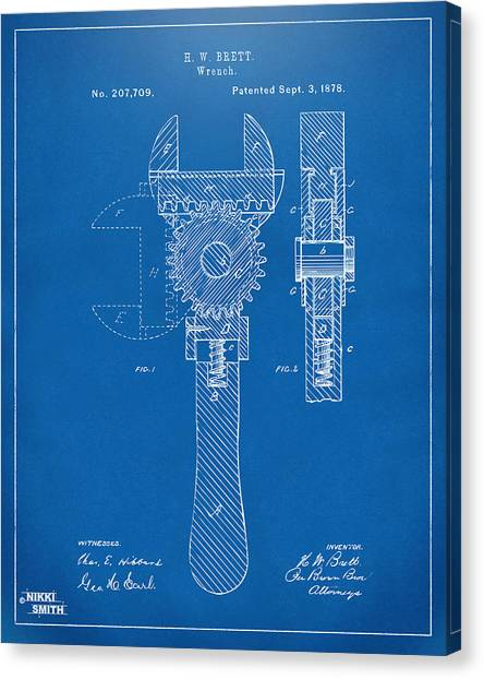 Wrenches Canvas Print - 1878 Adjustable Wrench Patent Artwork - Blueprint by Nikki Marie Smith