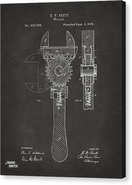 Wrenches Canvas Print - 1878 Adjustable Wrench Patent Artwork - Gray by Nikki Marie Smith