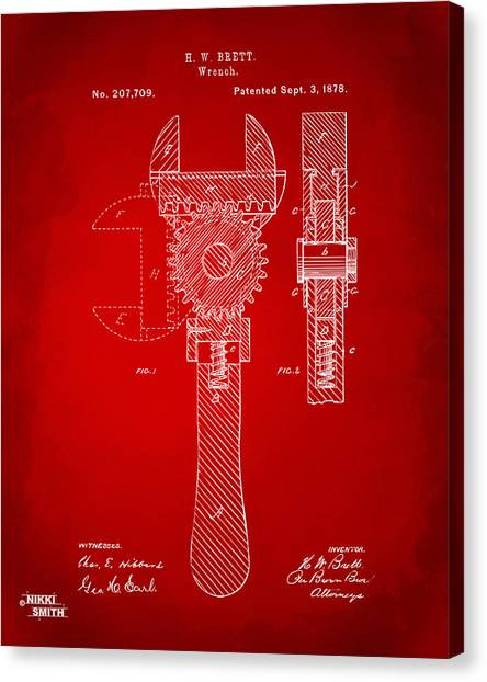 Wrenches Canvas Print - 1878 Adjustable Wrench Patent Artwork - Red by Nikki Marie Smith