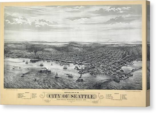 University Of Washington Canvas Print - 1878 Seattle Washington Map by Daniel Hagerman