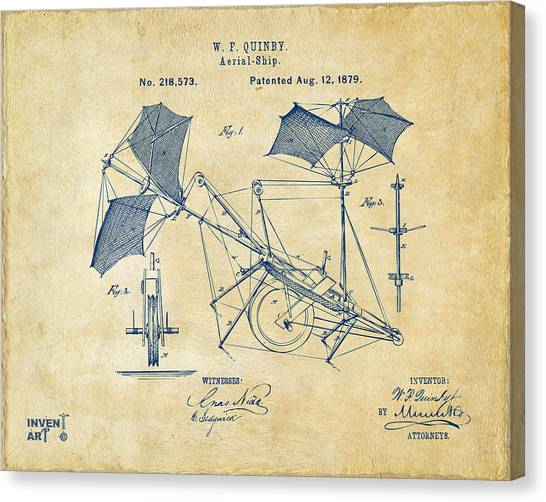 Paper Planes Canvas Print - 1879 Quinby Aerial Ship Patent - Vintage by Nikki Marie Smith