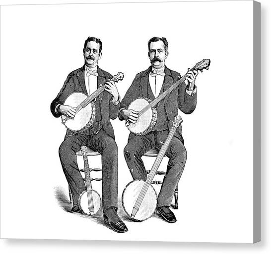 1880s Canvas Print - 1880s 1890s Two Men Playing Classical by Vintage Images