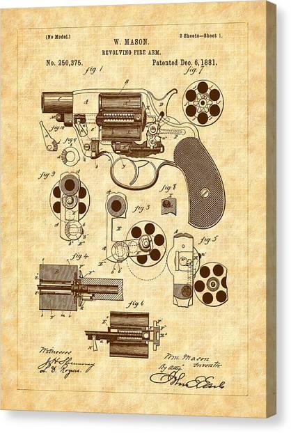 1881 Mason Revolver Firearm Patent Canvas Print