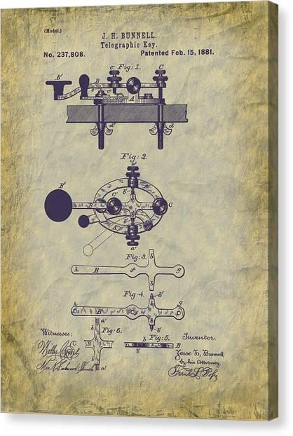 1881 Telegraph Key Patent Art Canvas Print