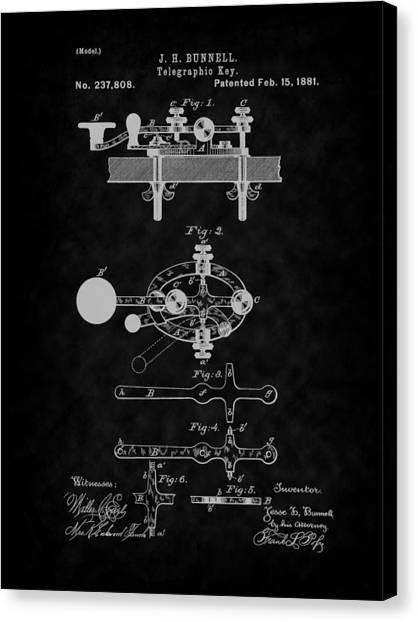 1881 Telegraph Key Patent Art-bk Canvas Print