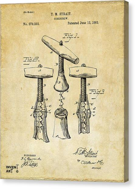 Wine Canvas Print - 1883 Wine Corckscrew Patent Art - Vintage Black by Nikki Marie Smith