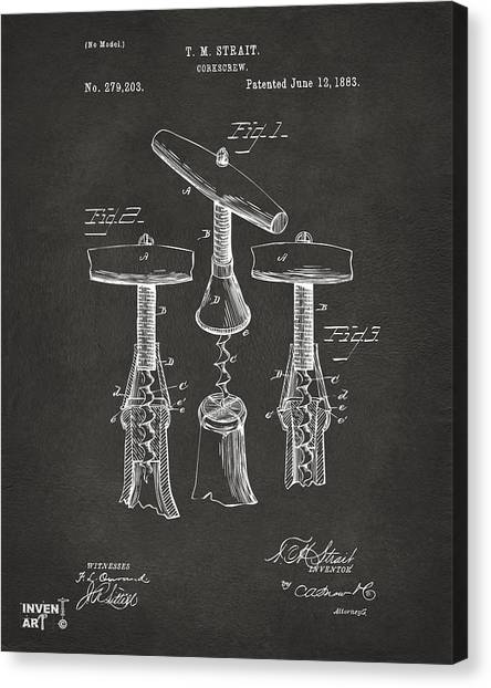 Bar Canvas Print - 1883 Wine Corckscrew Patent Artwork - Gray by Nikki Marie Smith
