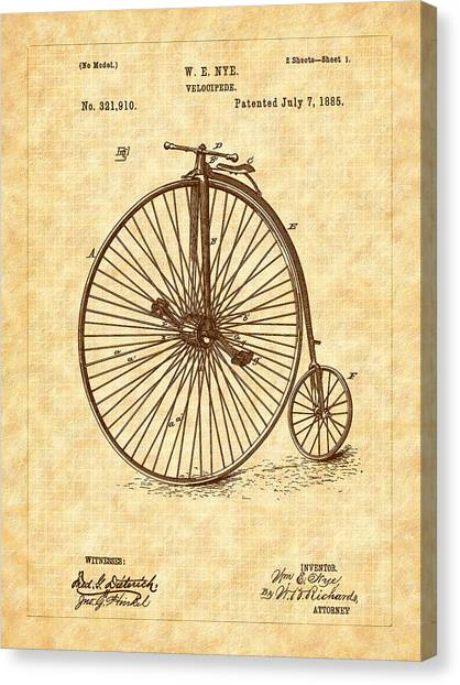 1885 Nye Velocipede Patent Canvas Print by Barry Jones