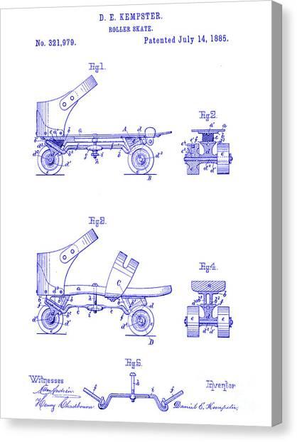 Roller Skating Canvas Print - 1885 Roller Skate Patent Blueprint by Jon Neidert