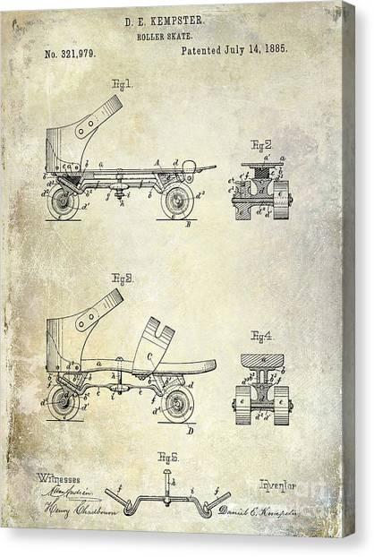 Roller Skating Canvas Print - 1885 Roller Skate Patent Drawing by Jon Neidert