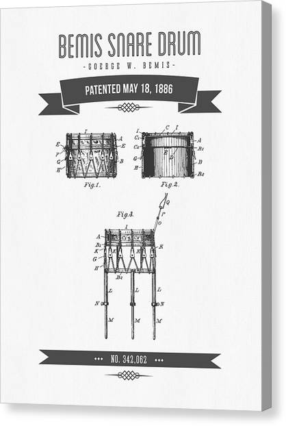 Snares Canvas Print - 1886 Bemis Snare Drum Patent Drawing by Aged Pixel
