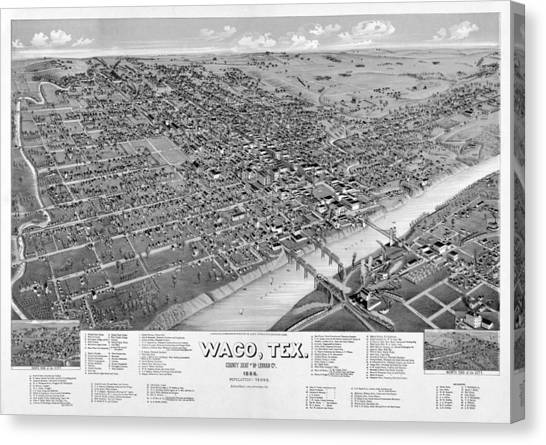 Dr. Pepper Canvas Print - 1886 Vintage Map Of Waco Texas by Stephen Stookey