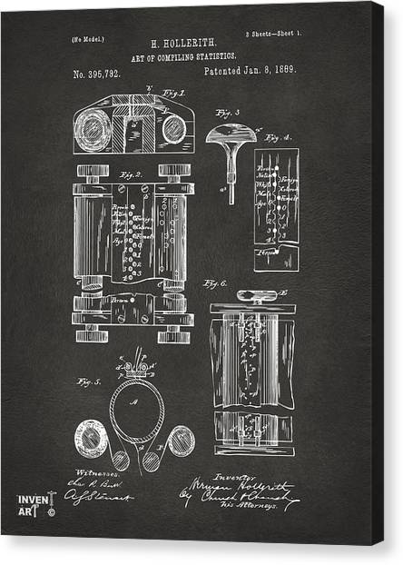 Computers Canvas Print - 1889 First Computer Patent Gray by Nikki Marie Smith