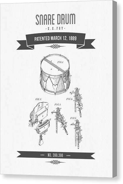 Snares Canvas Print - 1889 Snare Drum Patent Drawing by Aged Pixel