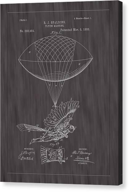 1889 Spalding Flying Machine Patent Art-black Woodgrain Canvas Print