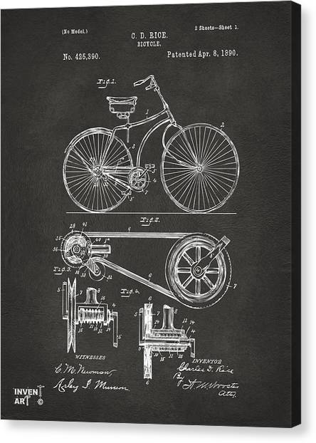 Media Canvas Print - 1890 Bicycle Patent Artwork - Gray by Nikki Marie Smith