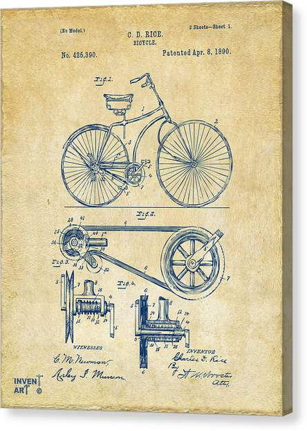 Bicycle Canvas Print - 1890 Bicycle Patent Artwork - Vintage by Nikki Marie Smith