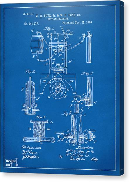 Media Canvas Print - 1890 Bottling Machine Patent Artwork Blueprint by Nikki Marie Smith