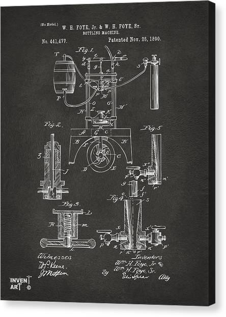 Canvas Print featuring the digital art 1890 Bottling Machine Patent Artwork Gray by Nikki Marie Smith