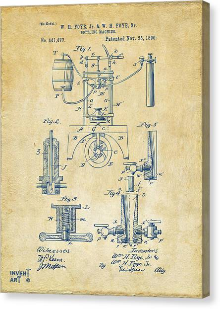 Media Canvas Print - 1890 Bottling Machine Patent Artwork Vintage by Nikki Marie Smith