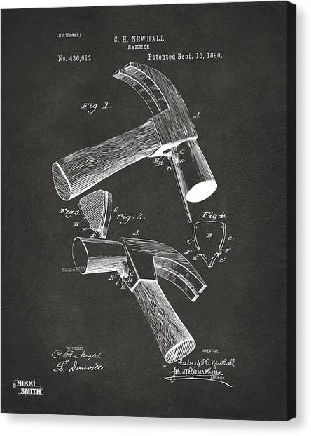 Hammers Canvas Print - 1890 Hammer Patent Artwork - Gray by Nikki Marie Smith