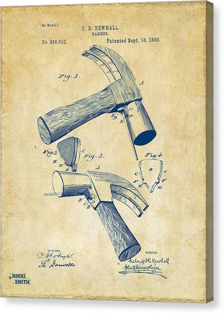 Hammers Canvas Print - 1890 Hammer Patent Artwork - Vintage by Nikki Marie Smith