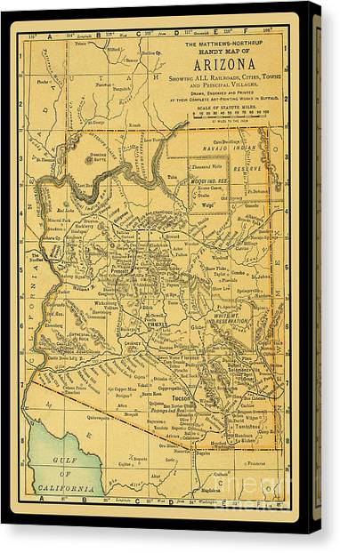 1891 Arizona Map Canvas Print