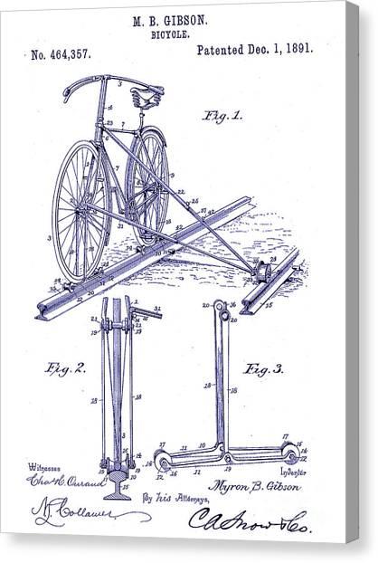 Bicycle Canvas Print - 1891 Bicycle Patent Blueprint by Jon Neidert
