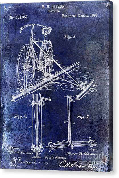 Bicycle Canvas Print - 1891 Bicycle Patent Drawing Blue by Jon Neidert