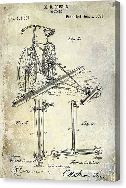 Bicycle Canvas Print - 1891 Bicycle Patent Drawing by Jon Neidert