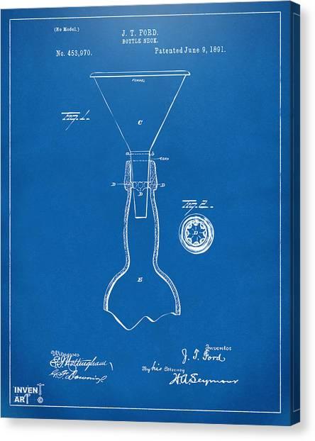 Brewery Canvas Print - 1891 Bottle Neck Patent Artwork Blueprint by Nikki Marie Smith
