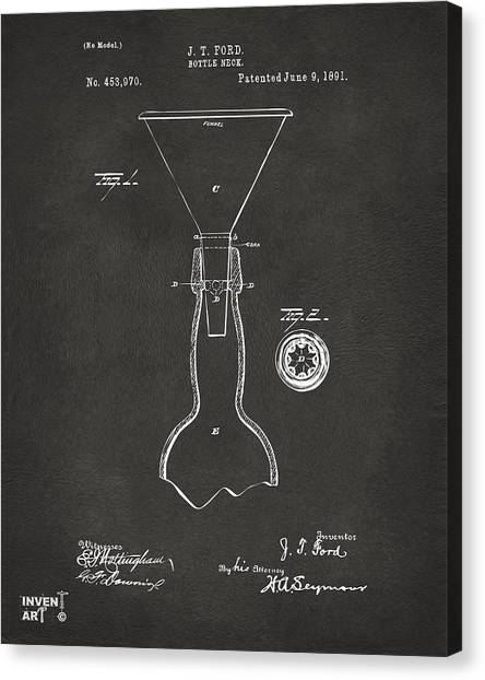 Brewery Canvas Print - 1891 Bottle Neck Patent Artwork Gray by Nikki Marie Smith